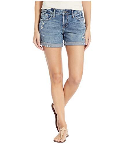 Silver Jeans Co. Damen Mid Rise Boyfriend Shorts, Medium Low Stretch, 25W x 4L - Zerstört Low-rise-jeans
