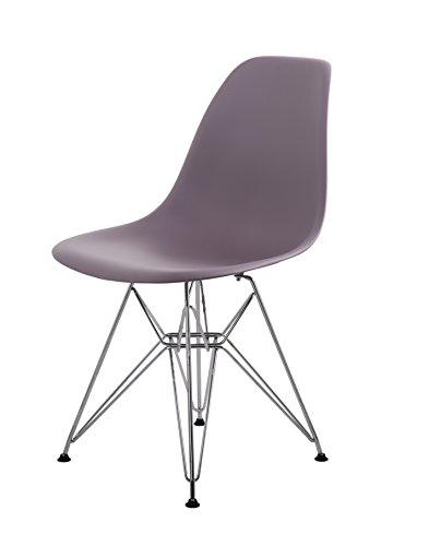 HNNHOME Eiffel Eames DSR Salle à Manger Plastique Chaises Moderne Salon Bureau Meubles Panton (Mauve Gris)