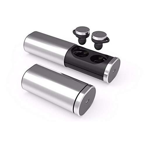 LJG Mini Wireless Bluetooth Headset In-Ohr Wireless Bluetooth Headset TWS-B1 Smart Echte Drahtlose Binaurale Bluetooth Headset Wasserdicht Unsichtbare Ohr-Sport-Ohrstöpsel,Silver