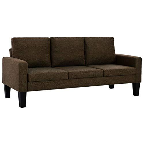 vidaXL Sofa 3-Sitzer Stoff Braun Polstersofa Couch Designersofa Stoffsofa