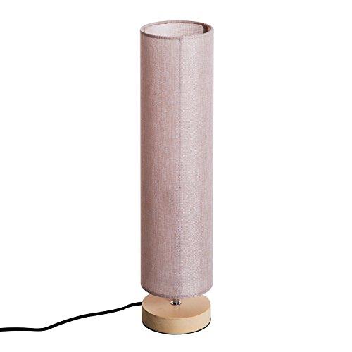 HOMCOM Tischleuchte Tischlampe Nachttischlampe E27, Kiefer+Leinen, Beige, Ф14xH58cm (Kiefer Leinen)