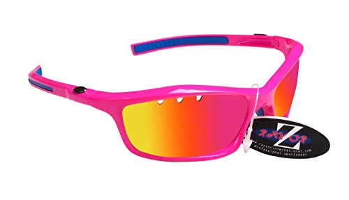 RayZor Professional Lightweight UV400 Pink Sports Wrap Running Sunglasses, With a Vented Pink Iridium Mirrored Anti-Glare Lens by Rayzor