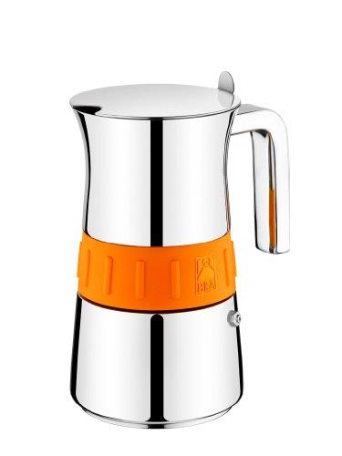 BRA Elegance Orange - Cafetera, 4 tazas, acero inoxidable 18/10