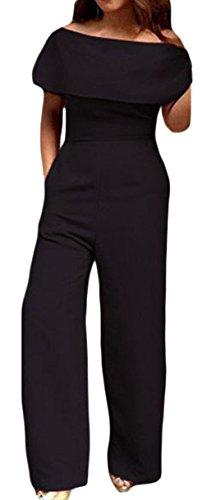 La Vogue Jumpsuit Combinaison Femme Pantalon Évasé Épaule Nu Noir