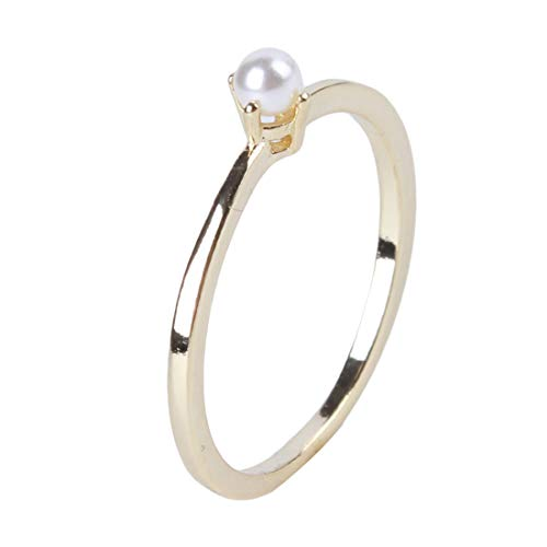 VWH Imitation Pearl Ring Minimalist Ring Exquisite Kleine Ring für Frauen Mädchen Schmuck Zubehör(Größe 7) (7 Pearl Größe Ringe)