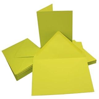 50 Sets - Faltkarten DIN A5 - Limette + Umschläge - Premium QUALITÄT - 14,8 x 21 cm - sehr formstabil - für Drucker geeignet! - Qualitätsmarke: NEUSER FarbenFroh