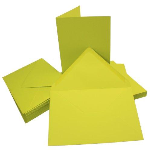 "50 Sets - Faltkarten DIN A5 - Limette + Umschlge - Premium QUALITÃ""T - 14,8 x 21 cm - sehr formstabil - fr Drucker geeignet! - Qualittsmarke: NEUSER FarbenFroh"
