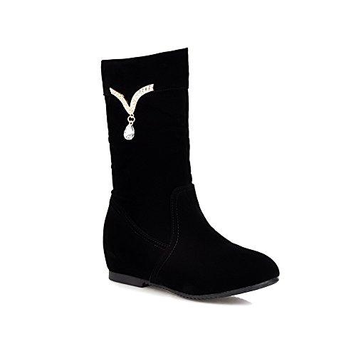 AllhqFashion Damen Ziehen Auf Rund Zehe Niedriger Absatz Blend-Materialien Stiefel Schwarz