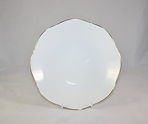 Un Anglais Simple en porcelaine fine Blanc et Or Doré 24,1cm Bol à salade/pâtes. Décoré à la Main et à cuire en Staffordshire.