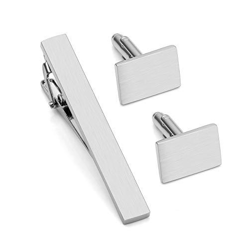 PiercingJ Personalized Gravur Herren Manschettenknöpfe+Krawattenklammer Set Cufflinks krawattennadel Tie Clip für Hemd,Silber