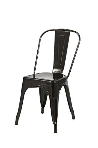 Duhome 1x Esszimmerstuhl Schwarz Stuhl aus Metall/Eisen Farbauswahl Küchenstuhl stapelbar, robust & zeitlos 666