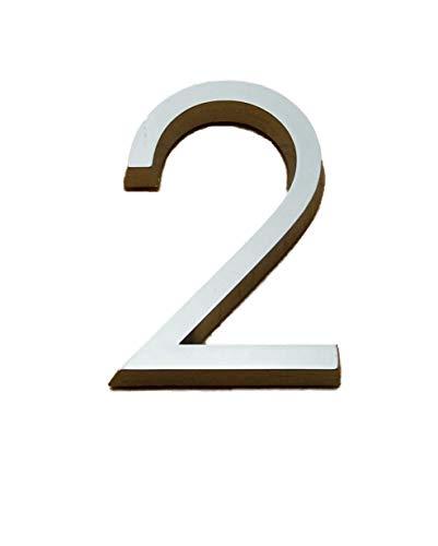 Selbstklebende Chrom Zahlen silber Auto Tür Nummer 3D Hag Höhe 5cm Nummer 2
