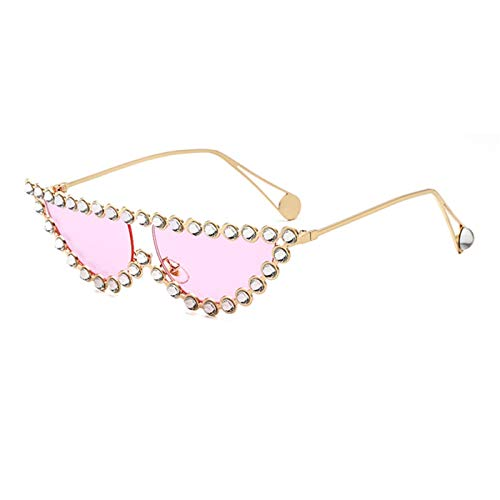 Daawqee Luxury Designer Crystal Women Transparent Hot Fashion Sunglasses Rhinestone Rays Italian Cat Eye Sun Glasses Gold Pink