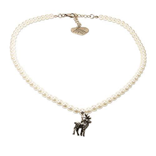 Alpenflüstern Perlen-Trachtenkette Hirsch klein - Damen-Trachtenschmuck Dirndlkette Creme-weiß DHK239