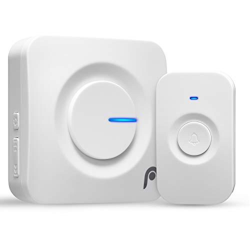 Fosmon Funk-Türklingel Wasserdicht/Haus-Klingel/Tür-Glocke/Tür-Gong/Haustür-Klingel Alarm[Batterie-betrieben][Kabellos/Tragbar][280m][0-95 db][4 Lautstärkestufen][Schwerhörige LED Anzeiger] Set -Weiß