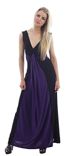 Chocolate Pickle ® Mesdames Illusion Contraste taille Boob Knot Panel Plus longue Maxi robe de soirée Black-Purple