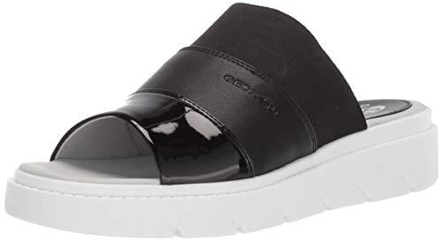 Geox Damen Slide Tamas 3, Pantolette, Sandale, Black Oxford, 39 EU - Perforierte Leder-plattform