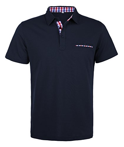 Schonlos Herren Poloshirt Kurzarm Patchwork Sommer T-Shirt Men's Polo Shirt(Dunkelblau,L)
