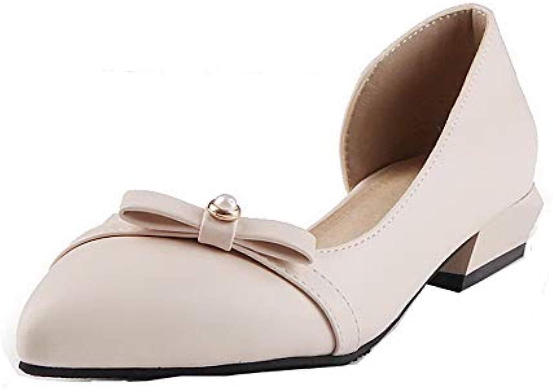 AgooLar Donna B07HFMQWRG PU Low Heels Closed Toe Pull On
