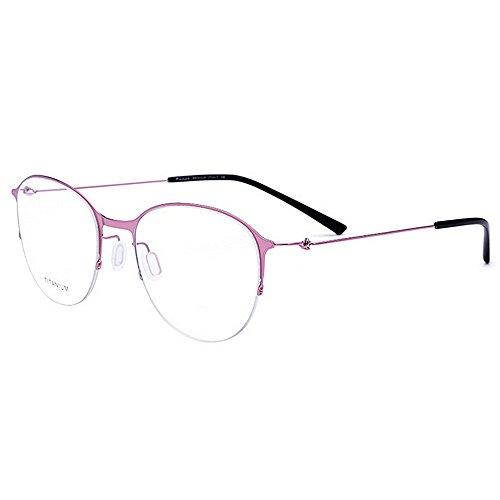 Yiph-Sunglass Sonnenbrillen Mode Exquisite Titanlegierung Acetat Fiber Full Frame Runde Form Flexible Business Brillengestell Brillen Mit Klare Linse (Farbe : Rosa) (Flexible Brillengestelle)