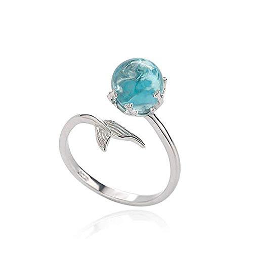 Febelle Damen Versilbert Ring Meerjungfrau Fischschwanz Open Ring mit Blauem Stein Verstellbar Ring Geschenk Schmuck