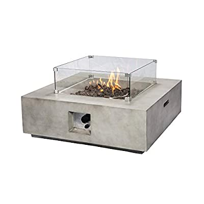Peaktop - Outdoor Square Concrete Propane Gas Fire Pit With Pvc Cover 6kg Lava Rock Touch Up Paint Brush Regulator Included Dimensionsw 88cm Xl 88cm Xh 29cm from Peaktop