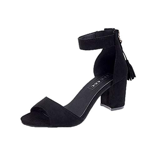 OLEEKA Damen Quadratische High Heels Sandalen Quaste Reißverschluss Single Band Pumps Ankle Wrap Lady Dating Hochzeit Schuhe, 7cm Black - Größe: 39.5 EU Heel Ankle Wrap