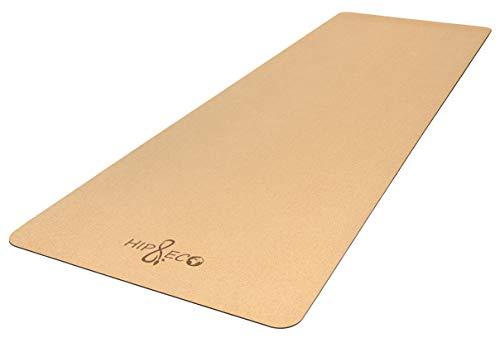 HIP & ECO Yoga-Matte aus umweltfreundlichem Kork und Naturkautschuk | Nachhaltig hergestellt | mit Tragegurt | Ideal für Yoga, Pilates, Fitness, Freeletics | 183 x 61 x 0,4 cm