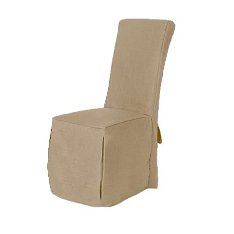 Sand Beige Linen Look Fabric Upholstered Slipcover for Scroll Top Dining Chair