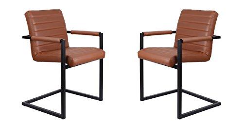 Feel Furniture -CONFERENCE stuhl - Hellbraun- 2 Stück - Schlankem Industriedesign mit hochwertigen Materialien: Büffelleder und Stahl. Elegantes...