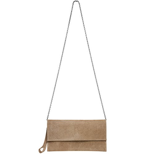 CASPAR TL702 Damen Wildleder / Veloursleder Clutch Tasche mit Handschlaufe Sand