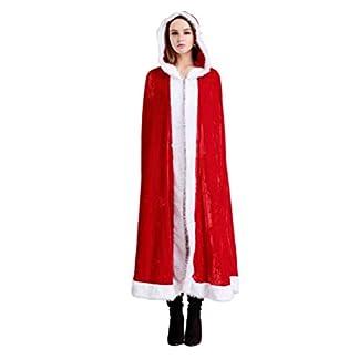 Amosfun Navidad Cabo Sra. Santa Claus con Capucha túnica Traje de Cosplay Disfraces de Halloween para la Fiesta tamaño M