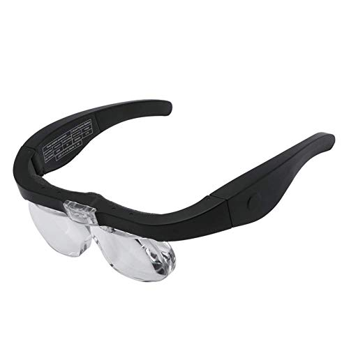 VKFX LED Lupenbrille Kopflupe mit Licht,1.5X bis 5X abnehmbare Linsen-Kopfbandlupe Stirnlupe Brillenlupe mit Beleuchtung für Brillenträger,Lesen, Handwerk,Juweliere, Nähen,Elektro und Reparatur Hobby
