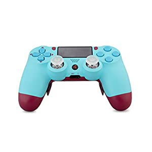 KING CONTROLLER® PS4 Controller Curved Paddles Custom Design Berry Blue (blau, rot) – DualShock 4 – PlayStation 4 Pro Slim – Wireless PS4-Controller