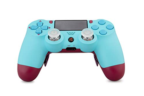 King Controller PS4 Controller Curved Paddles Custom Design Berry Blue (blau, rot) - DualShock 4 - PlayStation 4 Pro Slim - Wireless PS4-Controller - Custom-ps4-controller