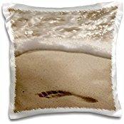 Cindy Miller Hopkins - Beaches - Ecuador, Galapagos, Espanola Island, Gardner Bay. Footprint in sand. - 16x16 inch Pillow Case