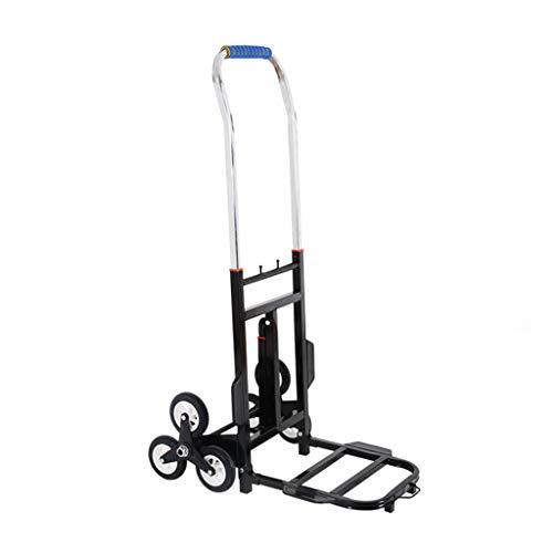 Tellerwagen Folding Trolleys Stair Hand Home Kleines Push-Auto Schwere Tragbare Lebensmittelgeschäft Einkaufswagen Faltwagen Geschenke (Color : Black, Size : 76 * 50 * 34cm)