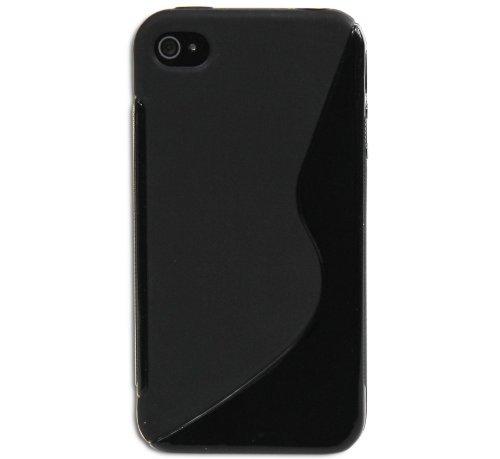 Luxburg® S-Line Design Schutzhülle für Apple iPhone 4S / 4 in Farbe Tiefschwarz / Schwarz, Hülle Case aus TPU Silikon