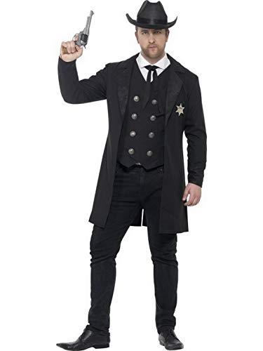 n Männer Curvy Western Cowboy Sherrif Kostüm mit Jacke, Hemdattrappe, Westel, Krawatte und Hut perfekt für Karneval, Fasching und Fastnacht, L, Schwarz ()