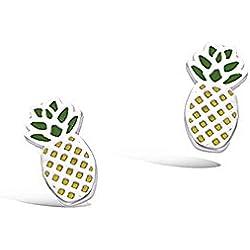 Tata Gisele© pendientes niños en plata 925/000rhodié y email–Piña–incluye bolsita regalo terciopelo