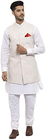 NEUDIS by Dhrohar Cotton Long Nehru Jacket With Kurta Pajama For Men -White