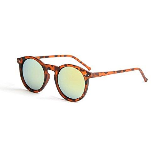 Winwintom Mujeres Hombres Moda circular Gafas de sol de la marca tono clasico espejo (Color A)