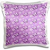 Anne Marie Baugh Patterns - Purple Butterflies and Scallop Flower Pattern - 16x16 inch Pillow Case