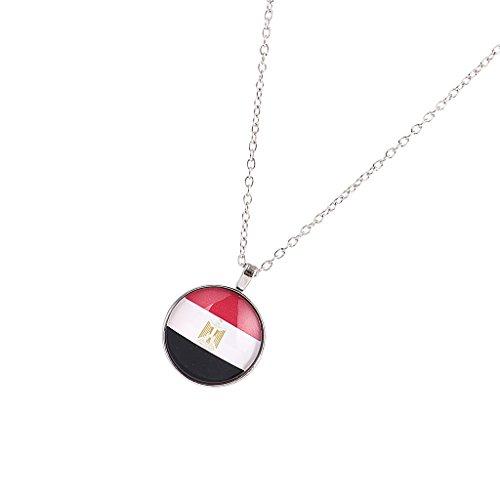 MagiDeal 1 Stück Halskette Flagge Muster Anhänger Halskette Unisex Mode Lange Hals Schmuck - Mehrfarbig Ägypten