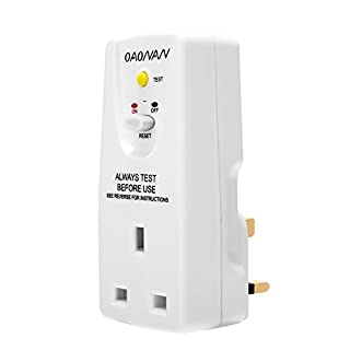 RCD Plug Adaptor Leakage Protection Breaker (240V , 13A) for Household Devices and Tools(UK plug) - White