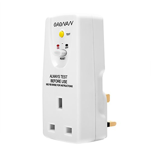 OAONAN Safety RCD Outlet Adapter UK Regulations GFCI Plug Leakage  Protection Breaker (240V, 13A) for Household Devices and Tools - White