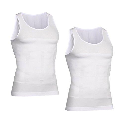 VENI MASEE Men es Body Shaper Schlankheits Weste, Männer elastische Formung Weste thermische Kompression Basisschicht schlank Kompression Muskel-Tank Shapewear (White Tank Top 2 Pieces, L)