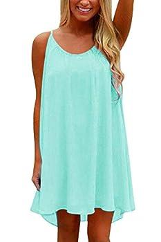 95ed3f9ed484 Yidarton Womens Summer Long Dress Casual Sleeveless Beach Backless Mini  Dresses for Evening Party Green Medium