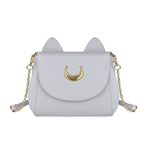 YWLINK Mode Schultertaschen PU-Leder Daypacks Katzenohren Frauen Sailor Moon UmhäNgetasche Handtaschen Kette Band Tasche