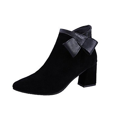 Rtry Femmes Chaussures Pu Mode Hiver Bottes Bottes Chunky Talon Bout Rond Zip Pour Casual Noir Noir Us7.5 / Eu38 / Uk5.5 / Cn38 Us5.5 / Eu36 / Uk3.5 / Cn35